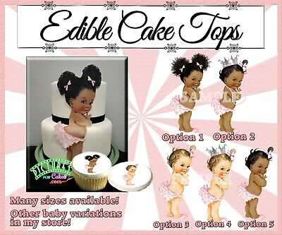 Vintage Baby girl Edible Cake Topper Frosting sugar paper picture afro gingham
