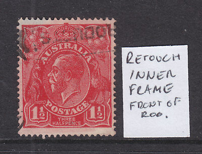 KGV 1 1/2d  RED SINGLE WMK VARIETY  RETOUCH INNER FRAME IN FRONT OF ROO   USED.