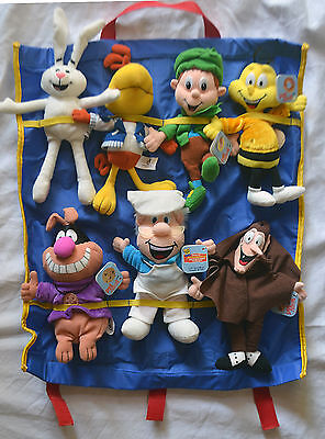 Set of 7 General Mills Breakfast Babies Beanie Plush w/Tags & Carrying Case 1997