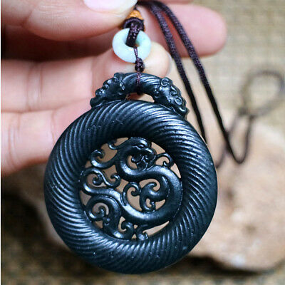 Exquisite Hand-carved China Ancient Dragon Carving Hetian Jade Pendant Necklaces