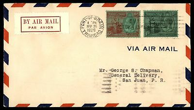 Mayfairstamps Trinidad & Tobago to Puerto Rico 1929 First Flight Cover FFC