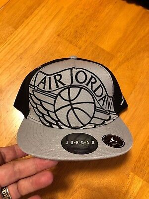 NIKE YOUTH AIR Jordan Wings Wolf Grey Kids Snapback Hat Cap 9A1780 ... c0c56221db6
