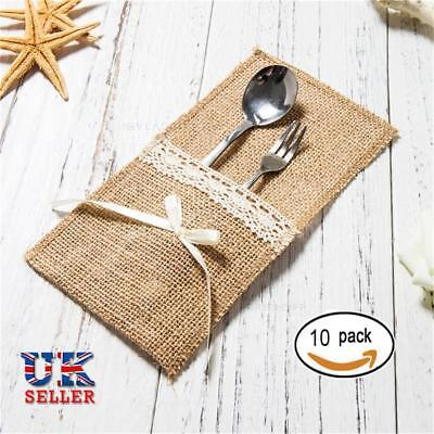 10X Hessian Cutlery Burlap Pouch Holder Pocket Bowknot Wedding Party Decor Bags