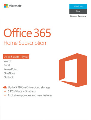 NEW Microsoft 6GQ-00752 Office 365 Home Subscription 1YR