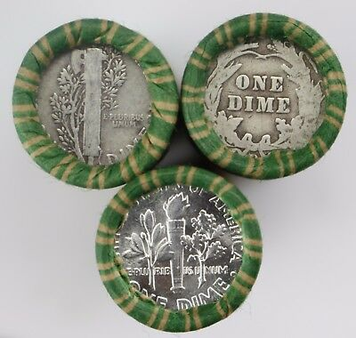Lot of 1x SEALED $5 90% Silver Dime Roll Roosevelt Mercury Barber P D S O Dimes