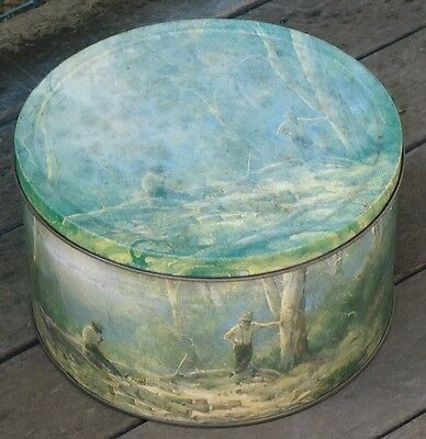 """Vintage Arnott's Biscuit Tin *Ramon Ward Thompson """"The Wood Choppers"""""""