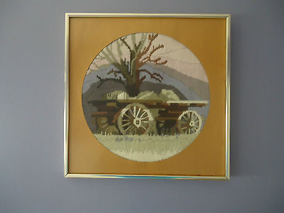 Lovely Vintage Country Style Completed Longstitch Picture *Sulky Dray *Framed