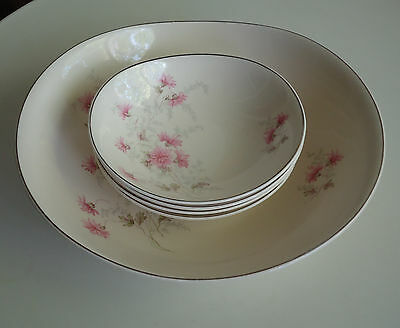 Pretty Vintage Johnson Bros England Master Bowl & 4 Dessert Dishes *Pink Floral
