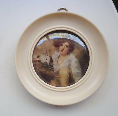 Vintage Round Bakelite Picture Frame with Concave Glass