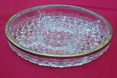 Antique EAPG Fostoria 'Valkyrie' Divided Hors d'oeuvre Glass Serving Platter