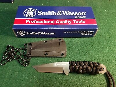 SMITH & WESSON S&W Black Full Tang Fixed Tanto NECK Knife + Sheath! SW910TAM