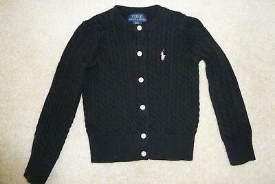 Polo Ralph Lauren Girls Cable Knit Cardigan Sweater Black Pink 3 3T