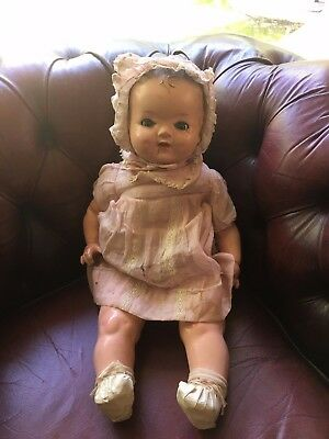 Moulded Hair Antique Reliable Doll  Canada Composition Head Limbs Cloth Body