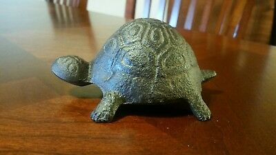 VINTAGE Tortoise Turtle Cast Iron Collectible  Paperweight Rock Garden Rustic