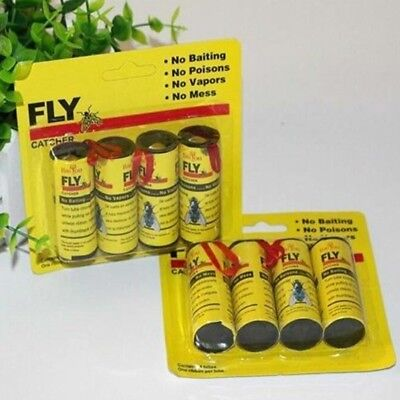 4 Rolls Insect Bugs Fly Glue Paper Catcher Trap Ribbon Tape Strip Sticky Flies