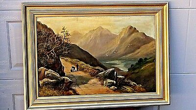 Antique Original Oil On Canvas Painting,gilt Wood Frame W/mountains& River Scene