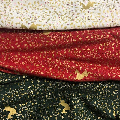 Christmas Cotton Fabric - Reindeer's Gold Print - Cream I Red I Green - Xmas