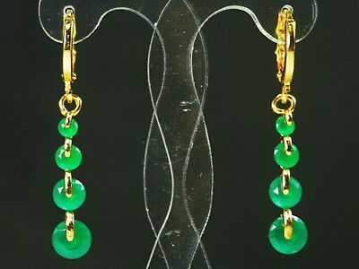Antique Chinese Natural Icy Green Carved Donut Jade Dangle Earrings Back Rare