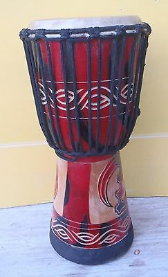 HANDMADE CARVED WOOD BONGO DRUMS GOAT SKIN DESIGN PROFESSIONAL PERCUSSION 40cmH
