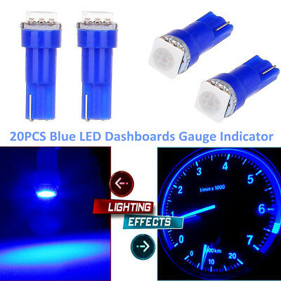20x Blue T5 Auto Dashboard Gauge Indicator Lamp 1-SMD LED Car Wedge Light Bulbs