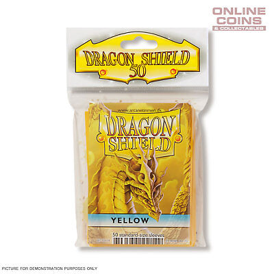 DRAGON SHIELD - Classic Standard Card Sleeves YELLOW Pack of 50 #AT-10114
