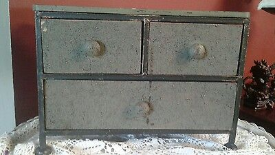 Cast Iron & Wood Storage Cupboard Vintage  Folk Art