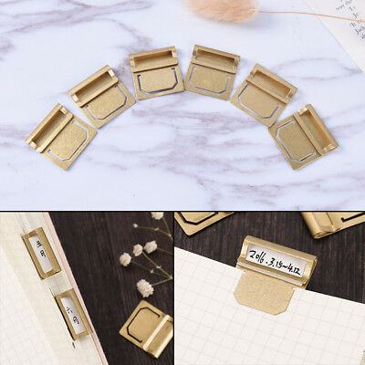 6Pcs Vintage Brass Bookmarks Metal Index Clamp Label Clip Stationery Paper Clips