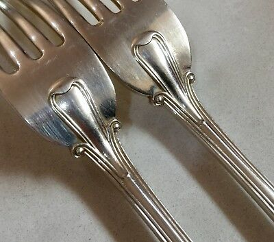 Gorgeous Pair Of Vintage 1930' 1940's Large Silverplate Forks Lovely Design #114