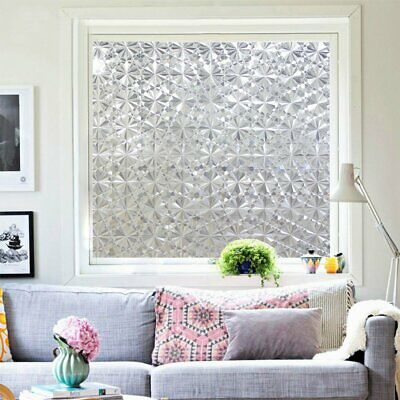 90cm 3D Laser Non-Adhesive Window Glass Films Privacy Film Static Decorative
