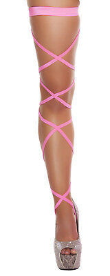Solid HOT PINK Thigh High Leg Wraps Straps Garter Exotic Dancer Pole dance