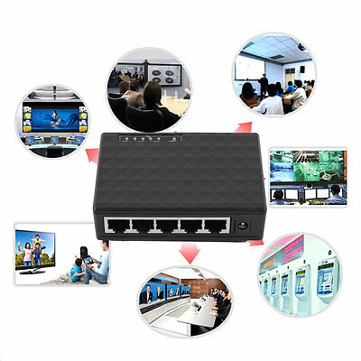 5 Port 1000 Mbps Desktop Ethernet Network LAN Power Adapter Switch Hub JQ