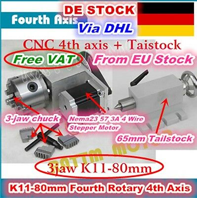 【DE&EU】Rotational axis 4th Fourth Axis 80mm 3 Jaw Chuck for CNC Router Ratio 6:1
