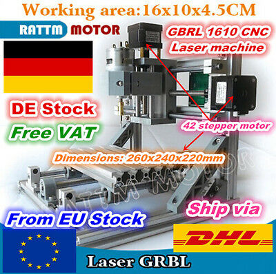 【DE】3 Axis 1610 GRBL Control DIY Mini CNC Router Engraving Milling Laser Machine