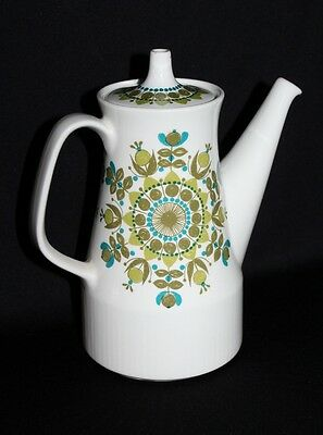Scandinavian Designed Retro 70's Figgio Coffee Pot Wild Green Flower Power Theme