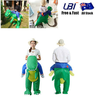 Halloween Inflatable Adult Green Dinosaur Party Home Costume Dino Rider Dress X1