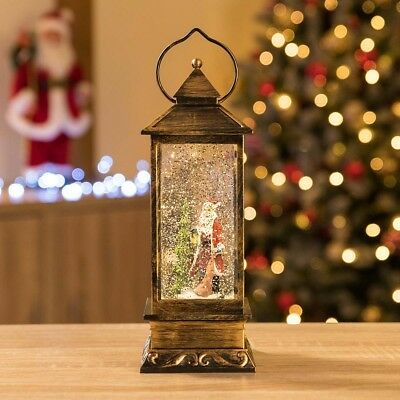 Glitter Filled Water Spinner Father Christmas Lantern LED Santa Claus Ornament