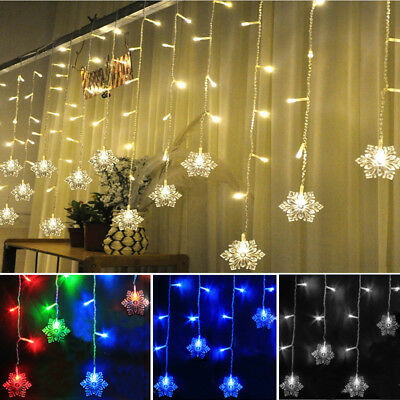 3M Icicle Snowflakes Curtain Window Fairy String Lights Outdoor Indoor Christmas