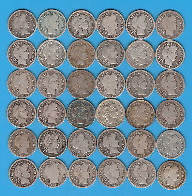 Lot of 36 Barber Silver Dimes - Some Very Nice