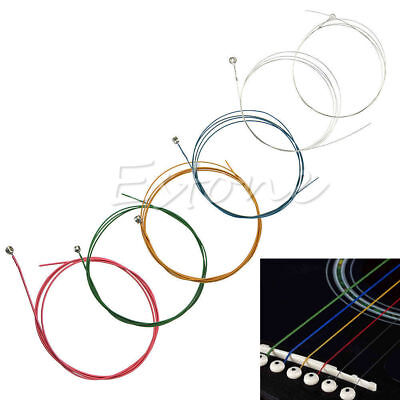 6Pcs Set Rainbow Colorful Color Strings for Acoustic Guitar Ukulele Instrument