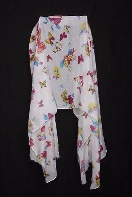 White Magenta Yellow & Shades Of Blue Flowers & Butterflies Print Scarf (S190)