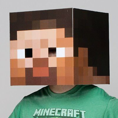 Minecraft Cardboard Head Steve fancy dress costume party enderman creeper steve