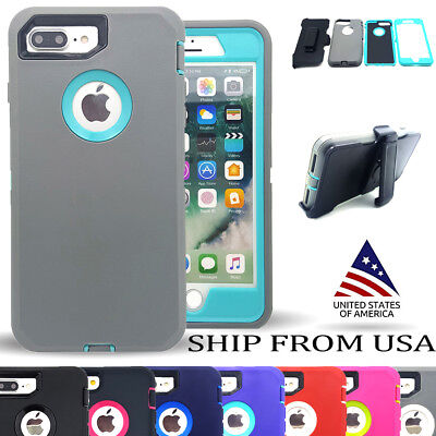 iPhone 7 / 8 / Plus Hybrid Heavy Duty Defender Shockproof Hard Holster Clip Case