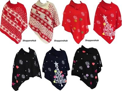 Women's Ladies Christmas Poncho Warm Knitted Xmas Jumper Sweater Size 8-18 UK