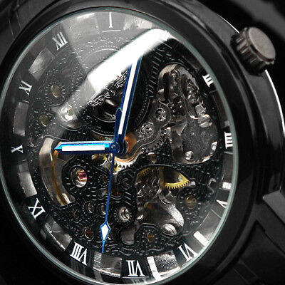 Black Stainless Steel Mechanical Watch Blue Hands Skeleton Automatic Dial Case