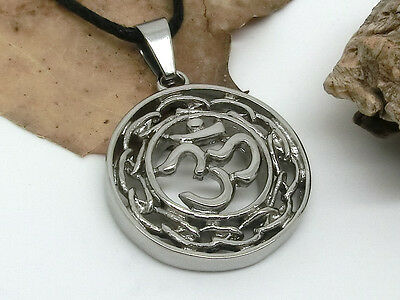 Om Aum Stainless Steel Pendant Amulet Buddhism Mantra with Rope