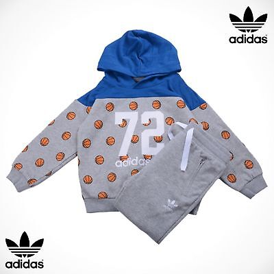 Adidas Originals Baby Boys Girls BBall Hoodie Tracksuit 0-3-6-9-12-18-24 Months