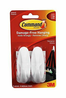 2 Command 3M Medium Self Adhesive Hooks Water Resistant Damage Free Bath Hanger