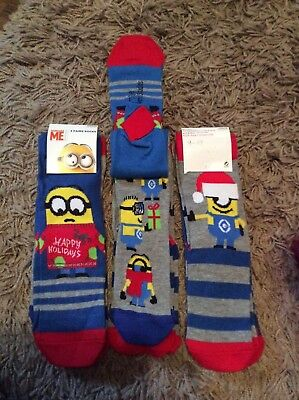 Pack of 3 Christmas minion novelty boys socks stocking filler gift present