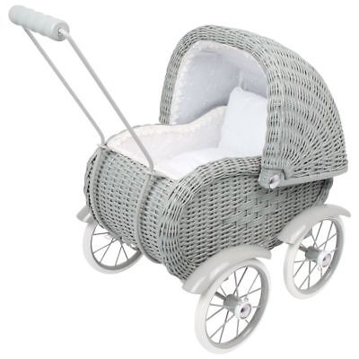 Pram/stroller wicker Grey x dolls game/toy x little girl