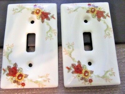 Pair Matching Vintage Porcelain Light Switch Plated Flowers Japan Home Decor